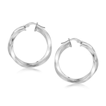 Sterling Silver Polished Spiral Hoop Earrings