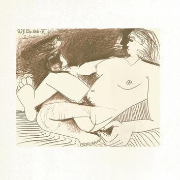 "Pablo Picasso 1972 Vintage Lithograph Signed on the Plate Entitled ""Femme a L'oiseau"" c. 1966 From Heller Gallery - Classic Picasso Nude"