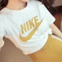 NIKE 2018 new sportswear suit women's summer casual fashion two-piece suit White/Yellow