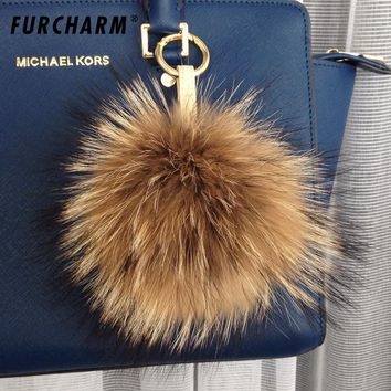 18cm fur key chain Girl Fashion soft Trendy Real raccoon fur Ball Round key ring For Bag Fur Pompons for Bag Hats Cap Scarf