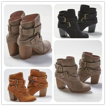 Women Boots Ankle Booties High Heel Fashion Casual Shoes Cross Bandage