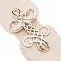 swirl buckle stretch belt $15.00 in BEIGEGOLD BLACKGOLD - Belts | GoJane.com