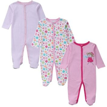 3 PCS Mother Nest Brand Baby Romper Long Sleeves 100% Cotton Baby Pajamas Cartoon Printed Newborn Baby Girls Boys Clothes