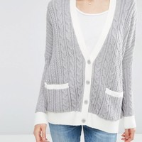 ASOS Cable Cardigan with Contrast Trim at asos.com