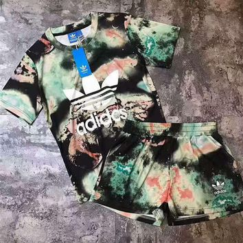 Adidas Women Starlight Milky Way Print Short sleeve Top Shorts Sweatpants Set Two-Piec