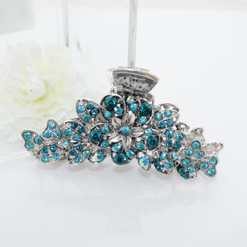 New woman's large/Xlarge silver color metal blue rhinestone flower hair claw hair clip