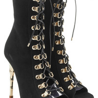 Balmain - Lace Up Suede Boots with Metallic Stiletto Heel