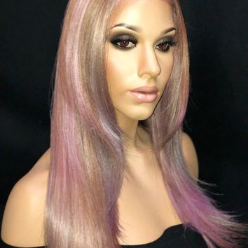 Fantasy Unicorn Pastel Pink, Purple, Blue & Blonde Hair Wig