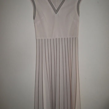 Vintage Nude Summer Brown Trim Polo Tennis V Neck Sleeveless Flapper 1920s 20s Summer Dress