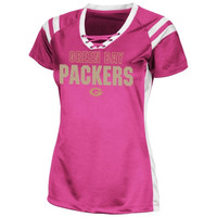 Green Bay Packers Womens Draft Me VI Shimmer V-Neck T-Shirt - Pink