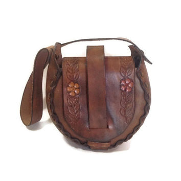 Vintage Boho Chic Saddle Bag Tooled leather purse tooled handbag flower design rounded hippie boho purse