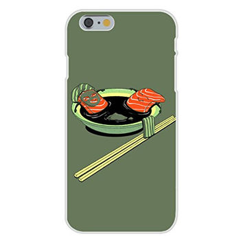 Apple iPhone 6 Custom Case White Plastic Snap On - 'Salmon Spa' Funny Cartoon Food Bathing in Soup w/ Chopsticks