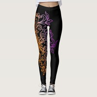 Elegant yellow purple gradient Mandala Leggings