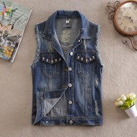 Women Pockets Skull Sleeveless Vest Streetwear Fashion Vintage