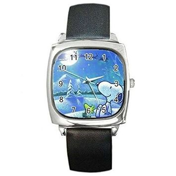 Christmas Snoopy and Woodstock Looking at Santa on a Silver Square Watch with Leather Band watches G9-96E3-DIQE