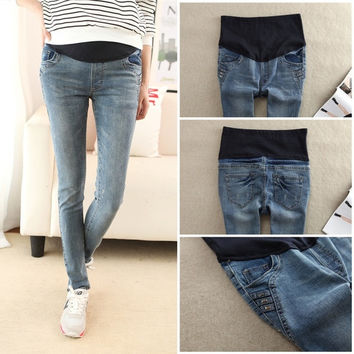 Four Seasons Fashion Maternity Pencil Jeans Slim Casual Pants Clothes for Pregnant Women Skinny Belly Trousers For Pregnancy 856 = 1945795588