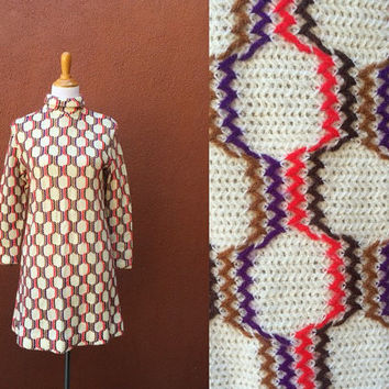Vtg 60's shift dress groovy acrylic knit zip up high neck sweater mini pop art white orange brown purple