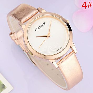 Versace New fashion dial letter leather watchband couple watch wristwatch