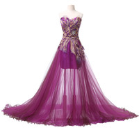 Grace Karin Peacock Evening Dresses Long  Purple Feather Dress Formal Mermaid Evening Gowns Women Prom Party Dresses 6165