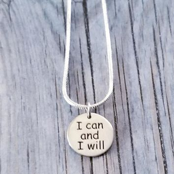 Sterling Silver I Can and I Will Necklace