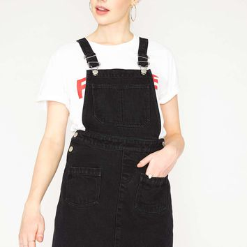 PETITE Denim Pinafore Dress | Missselfridge