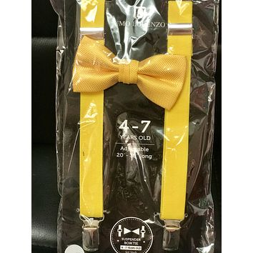 2019 Yellow Boys Suspender Bow Tie set