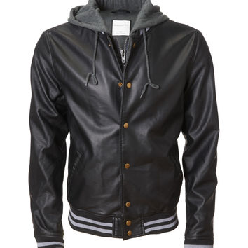 Aeropostale Mens Hooded Faux Leather Varsity Jacket