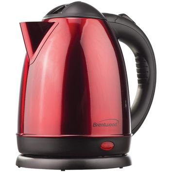 Brentwood 1.5-liter Red Stainless Steel Electric Cordless Tea Kettle
