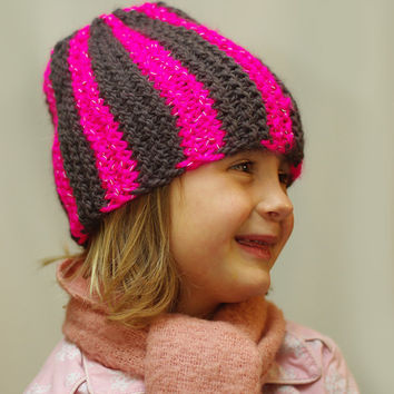 Kids Warm handknitted Reflective Striped Hat, girls winter hat,  womens Beanie,  pink ski cap, unisex cap, teens knit hat, Gift Ideas