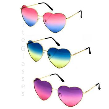 HEART-SHAPED Women LOVE Modern Retro Gradient Lens Metal Frame Elite Sunglasses