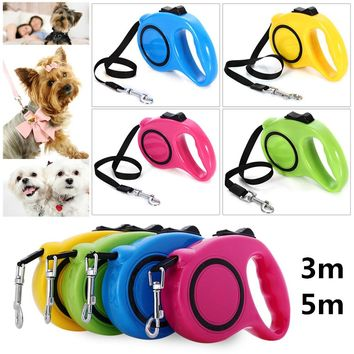 3M 5M Retractable Dog Leash Extending Puppy Walking Leads One-handed Lock Training Adjustable Pet Collar for Dogs Cats
