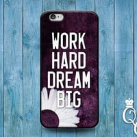 iPhone 4 4s 5 5s 5c 6 6s plus + iPod Touch 4th 5th 6th Generation Cool Phone Work Hard Dream Big Quote Cover Cute Fun Black Sun Flower Case