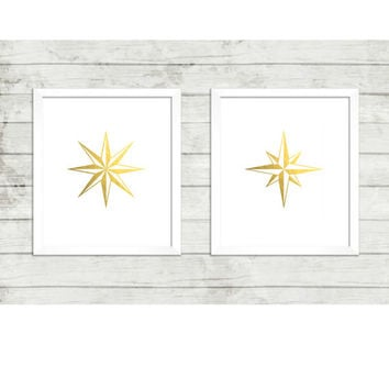 Nautical Faux Gold Printables , Eight (8) Point Gold Foil,  Nautical Star Duo, 8x10, Instant Download, Nautical Nursery Art, Office Wall Art