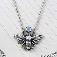 Vintage Bee Pendant Necklace, Sterling Silver Blue Flash Moonstone Insect, Bohemian Love Token Bridal Jewelry, Anniversary Nature Lover Gift