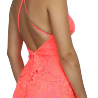 Wanderlust Neon Coral Lace Dress