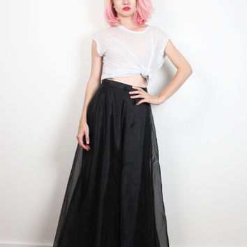 Vintage 1980s Skirt Black SHEER High Waisted Maxi Skirt Tulle Minimalist Lined Gown Dress Skirt 80s Soft Goth Prom Party Skirt S M Medium L