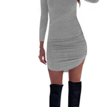 Plain Long Sleeve Curved Bodycon Dress