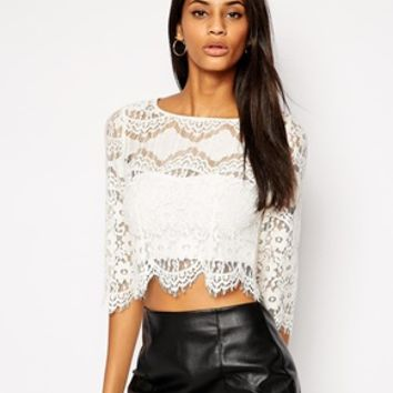TFNC Lace Top With Scallop Trim - Cream