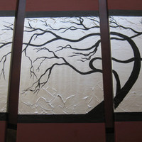 triptych trees abstract art brown gray grey silver black 3 canvases three painting panels wall paintings