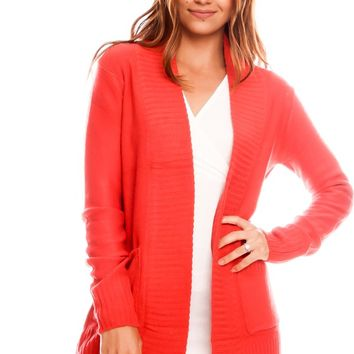 ORANGE OPEN FRONT LONG SLEEVES POCKET ACCENT SWEATER CARDIGAN