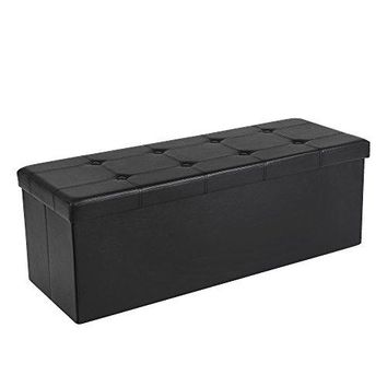 "SONGMICS 43"" Faux Leather Folding Storage Ottoman Bench, Storage Chest / Footrest / Padded Seat, Black ULSF701"