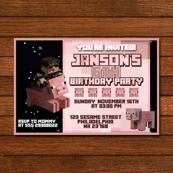 Minecraft Pig Design Invitation