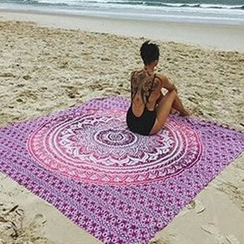 ICIKJG2 New 1pcs Bohemian Wall Hanging Tapestries Beach Towel Shawls Yoga Mat Home Decor green/ purple/blue /orange