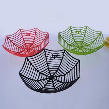 2017 New Plastic Spider Web Fruits Candy Basket Creative Spiderweb Bowl Halloween Party Decor