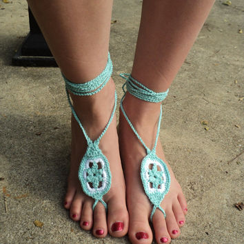 Star Flower Barefoot Crochet Sandals  - aqua, blue green and white view - CROCHET PATTERN ONLY -
