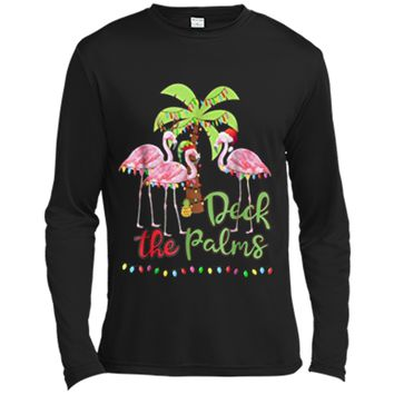 Deck the Palms Flamingo Christmas Tee - Vacation Family Tee Long Sleeve Moisture Absorbing Shirt
