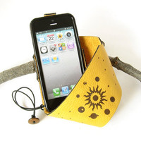 Harvest Gold Leather iPhone 5 Cuff Case w/ Integrated TPU Skin - Sun, Moon and Planets Design