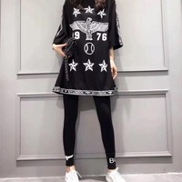 """Boy London"" Fashion Personality Numeral Star Eagle Letter Print Middle Sleeve Leggings Set Two-Piece Sportswear"