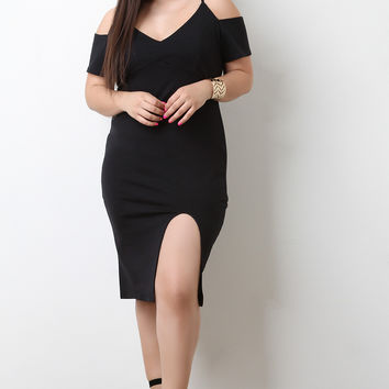 Thick Knit Cold Shoulder Front Slit Midi Dress