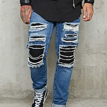 Rib-Underlayer Distressed Jeans